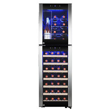 44 Bottle Touch Panel Dual Zone Wood Shelf Freestanding Compressor Wine Cooler