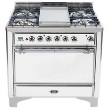 Ilve UMC90FDMPBX Majestic 36  Pro Dual Fuel Gas Range Oven Solid Door True White