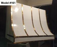 White Metal Hood  Incl Vent Motor  La Cornue Hood  White   Brass   Model  161