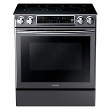 Samsung Black Stainless 30  Electric Slide In Convection Range NE58K9500SG NEW
