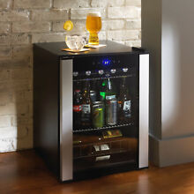 Free Standing 90 Can Wine Cooler Refrigerator Black Beverage Center Kitchen