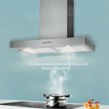 2018 Stylish Wall Mount Range Hood 30  Cooking Fan Vent Stove Stainless Steel