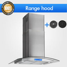 30  Island Mount Range Hood Stainless Steel Glass Kitchen Vent w  Carbon Filter