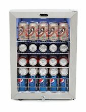 Mini Refrigerator With Lock Beverage Small Cooler Stainless Steel Commercial New