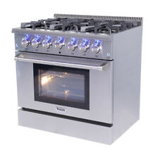 Gas Range 36  Thor Kitchen HRG3618U Professional Stainless Steel 6 Burners Q0J2