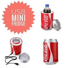 Coca Cola USB Powered Mini Fridge Desktop Drink Cooler Gadget 5V 12V Office Coke
