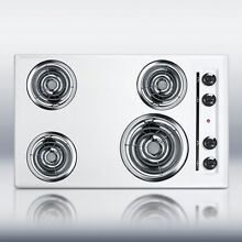 New in Box White 30  Elec 4 Burner Cooktop Surface Unit Still High Temp Burners