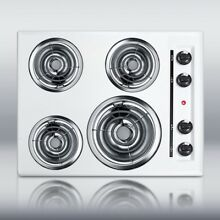 New in Box White 24  Elec 4 Burner Cooktop Surface Unit  Still High Temp Burners