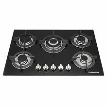 30  Powerful 5 Burner Black Tempered Glass Gas Cooktop   Cast Iron Trivets   Wok