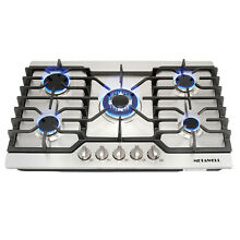 30  Stainless Steel 5 Burner Built in Stoves Gas Cooktops Silver for Kitchen