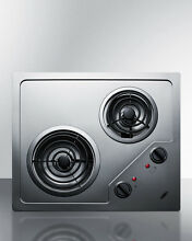 Summit CR2B224S Electric Cooktop Stainless Steel 220 Volt Built In Open Box New