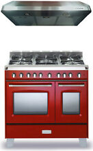 Verona Classic VCLFSGG365DR 36  Pro All Gas Range Oven Hood Package Gloss Red