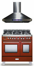 Verona Classic VCLFSGE365DR 36  Pro Style Dual Fuel Gas Range Oven Hood 2pc Set