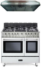 Verona VEFSGG365NDW 36  Pro Style Gas Range Double Oven 2Pc Kitchen Package