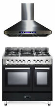Verona VEFSGG365NDE 36  Pro Style All Gas Range Double Oven 2Pc Kitchen Package