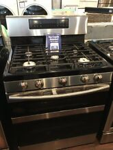 New Open Box Samsung 30 in  5 8 cu  ft  Dual Door Gas Range Double Oven with Sel