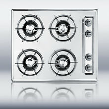 New in Box Chrome 24  Gas 4 Burner CookTop Surface Unit Elec Ign   FREE Shipping