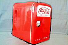 Coca Cola Portable Red Mini Koolatron Fridge Cooler 6 Can Capacity