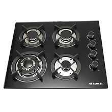 METAWELL 23 6  BLACK Tempered Glass Panel GAS Cooktop Stove Cook Top 4Burner Wok