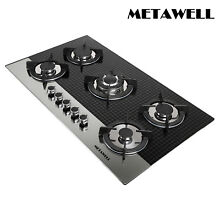 35 5  Black Coated Glass GAS Cooktop 5 Burner Stove Cook Top Kitchen