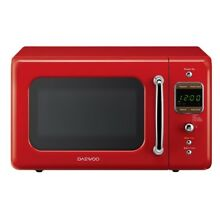 Countertop Retro Microwave Oven Red Electronic Touch Pad Turntable Defrost 700W