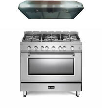 Verona Prestige VPFSGG365SS 36  All Gas 5 Burner Range Oven Hood Set Stainless