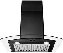 AKDY Wall Mount Range Hood 30 in  LED Lighted Convertible Stainless Steel Black
