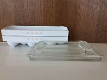 1950 s GE Refrigerator Egg Containers  2  and Glass Inserts  2  Rare Exec  Cond