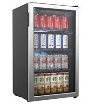 H0meLabs Mini Glass Door Refrigerator Beverage Cooler Fridge Beer Soda Wine 120