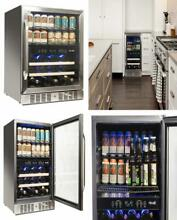 Dual Zone Beverage Cooler Built In Stainless Steel  Refrigerator Hold 22 Bottles