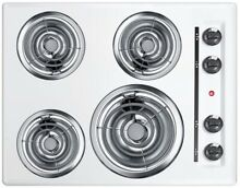 Summit Appliance 24 in Coil Electric Cooktop White 4 Element Right Side