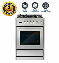 Cosmo 24 In  2 73 Cubic Feet  Single Oven Gas Range with 4 Burner Cooktop