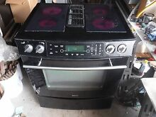 Jenn air jes9750bab range black with glass burners and grill unit downdraft