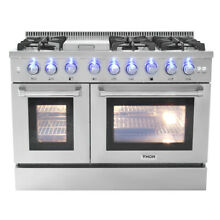 THOR Dual Fuel 48 Inch 6 Burner Gas Range Double Electric Oven Updates HRD4803U