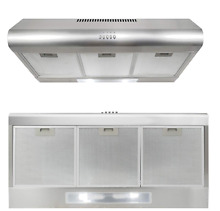36 in Under Cabinet Range Hood Ducted Ductless Convertible Top LED Exhaust Fan