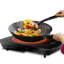 Digital Induction Cooktop Burner Portable Countertop W  4hours Timer Black