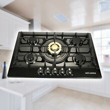 Black 30  Built in 5 Burner Titanium Stoves NG LPG Gas Hob Cooktop WM5708GD