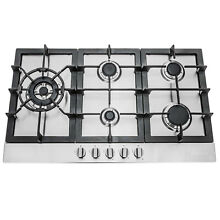 34 IN  GAS COOKTOP IN STAINLESS STEEL WITH 5 SEALED BRASS BURNERS