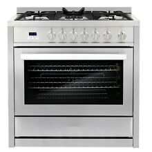 36 in  3 8 cu  ft  Single Oven Gas Range with 5 Burner Cooktop Stainless Steel