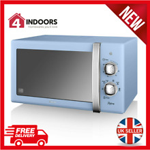 Swan SM22130BLN 800W Retro Manual Dial Microwave 20L In Blue   Brand New