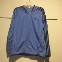Adidas Women s Jacket Large Hooded Full Zip Pockets Sky Blue Vented Lining