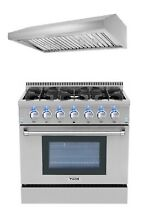 36  Gas Range   36  Range Hood Thor Kitchen 2 Piece Package