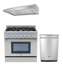 36  Gas Range  36  Range Hood and 24  Dishwasher Thor Kitchen 3 Piece Bundle