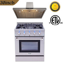 30  Dual Fuel Range 4 Burners Cooktop   Wall Mount Vent Range Hood Thor Kitchen
