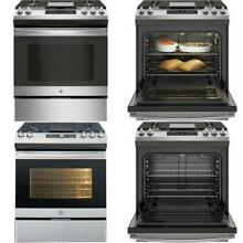 5 3 cu  ft  Slide In Gas Range with Steam Cleaning Oven in Stainless Steel