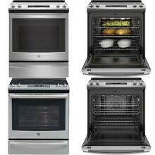5 3 cu  ft  Slide in Electric Range with Self Cleaning Convection Oven in Stainl