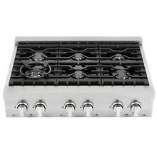 36 in  Gas Cooktop with 6 Italian Made Sealed Gas Burners in Stainless Steel