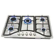 New 30  Stainless Steel 5 Burner Built in Stoves NG Gas Hob Cooktops For kitchen