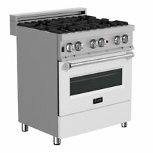 ZLINE 30  DUAL FUEL RANGE OVEN GAS ELECTRIC STAINLESS WHITE DOOR RAS WM 30
