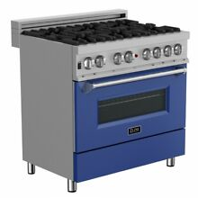 ZLINE 36  DUAL FUEL RANGE OVEN GAS ELECTRIC STAINLESS BLUE DOOR RAS BM 36